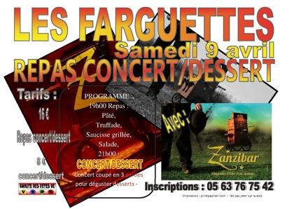 flyer concert fete Farguettes samedi soir